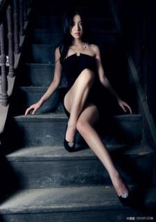 black dress, sexy long leg, the girl in the dream