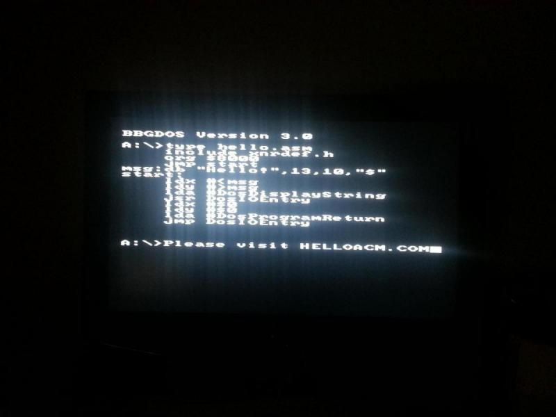 Output a String to Console (BBG-DOS) using 6502 Assembly for